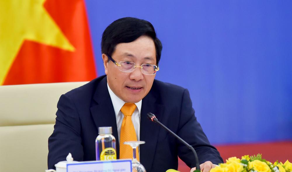 Ủy viên Bộ Chính trị, Phó Thủ tướng Chính phủ, Bộ trưởng Ngoại giao Phạm Bình Minh phát biểu tại Phiên họp lần thứ 12 Ủy ban Chỉ đạo hợp tác song phương Việt Nam-Trung Quốc hôm nay. Ảnh: Thế giới & Việt Nam