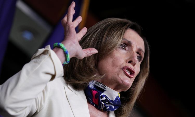 Chủ tịch Hạ viện Mỹ Nancy Pelosi tại buổi họp báo hôm 16/7. Ảnh: Reuters.