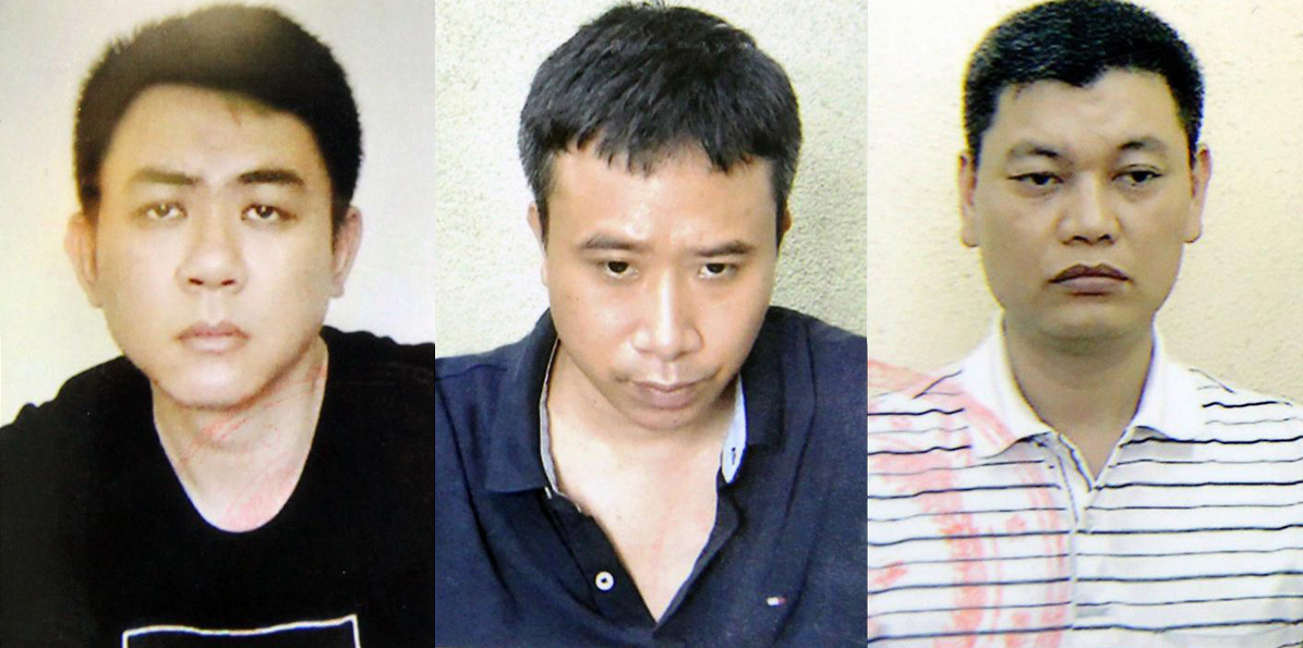 Bị can Trung, NGọc, Dũng (từ trái qua) tại cơ quan điều tra. Ảnh: Bộ Công an.