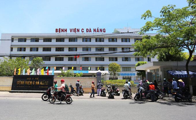Bệnh viện C Đà Nẵng bắt đầu phong tỏa sáng 24/7. Ảnh:Đắc Thành