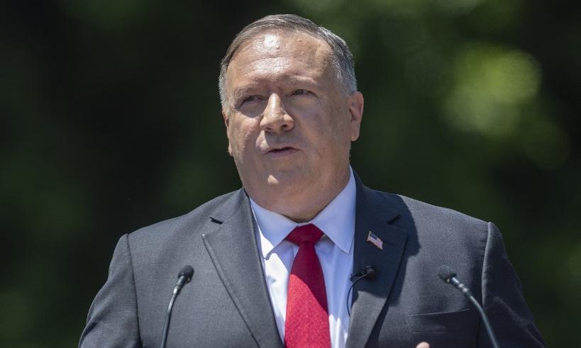 Ngoại trưởng Pompeo phát biểu tại Thư viện Nixon, bang California, ngày 23/7. Ảnh: AFP.