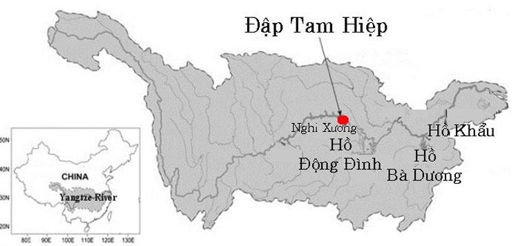 Vị trí đập Tam Hiệp. Đồ họa: Cơ quan Khí tượng Quốc gia Trung Quốc.
