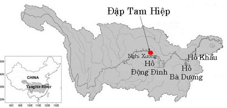 Vị trí đập Tam Hiệp. Đồ họa:Cơ quan Khí tượng Quốc gia Trung Quốc.
