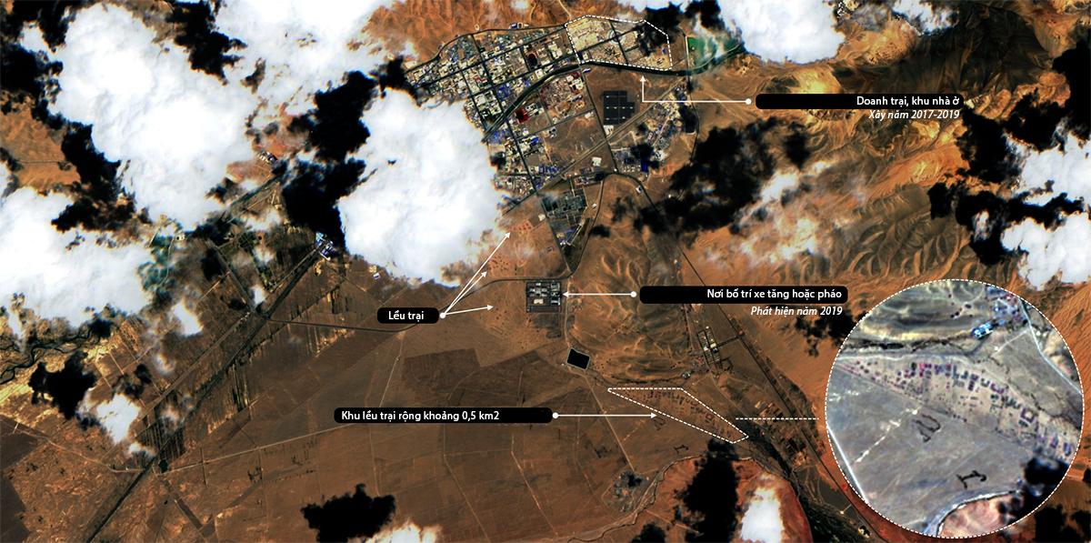 Ảnh vệ tinh khu vực thị trấn Sư Tuyền Hà, huyện Cát Nhĩ, khu tự trị Tây Tạng của Trung Quốc, ngày 20/7. Ảnh: Twitter/detresfa.