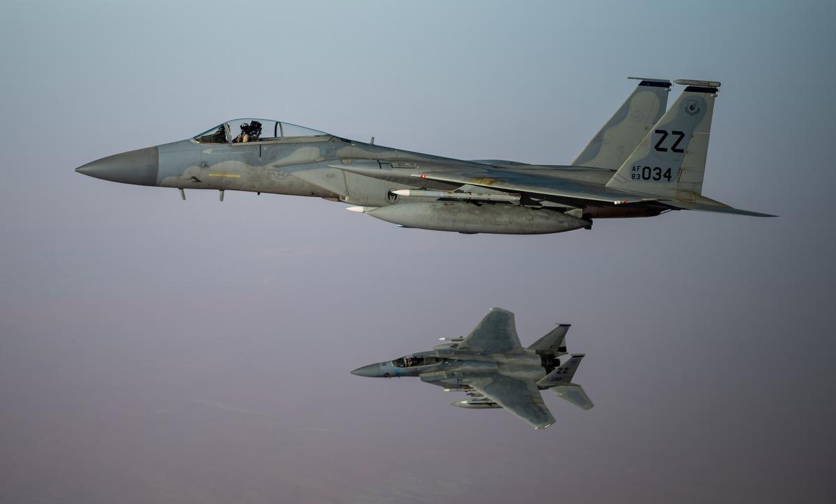 Tiêm kích F-15C Mỹ tuần tra tại Trung Đông hôm 7/7. Ảnh: USAF.