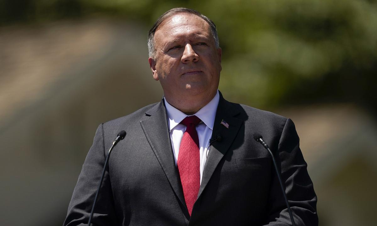 Ngoại trưởng Mỹ Mike Pompeo phát biểu tại Thư viện Nixon, bang Washington, hôm 23/7. Ảnh: AP.