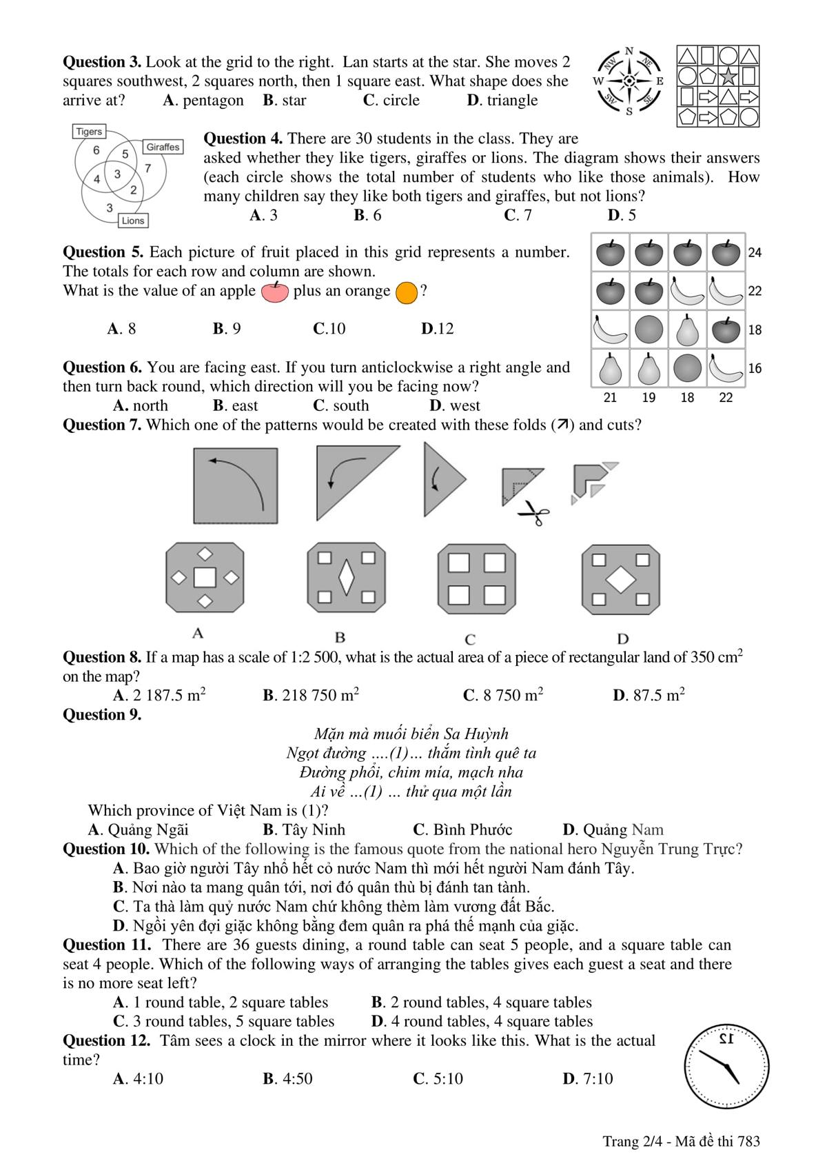 Đề và đáp án bài thi vào lớp 6 trường THPT chuyên Trần Đại Nghĩa - 5