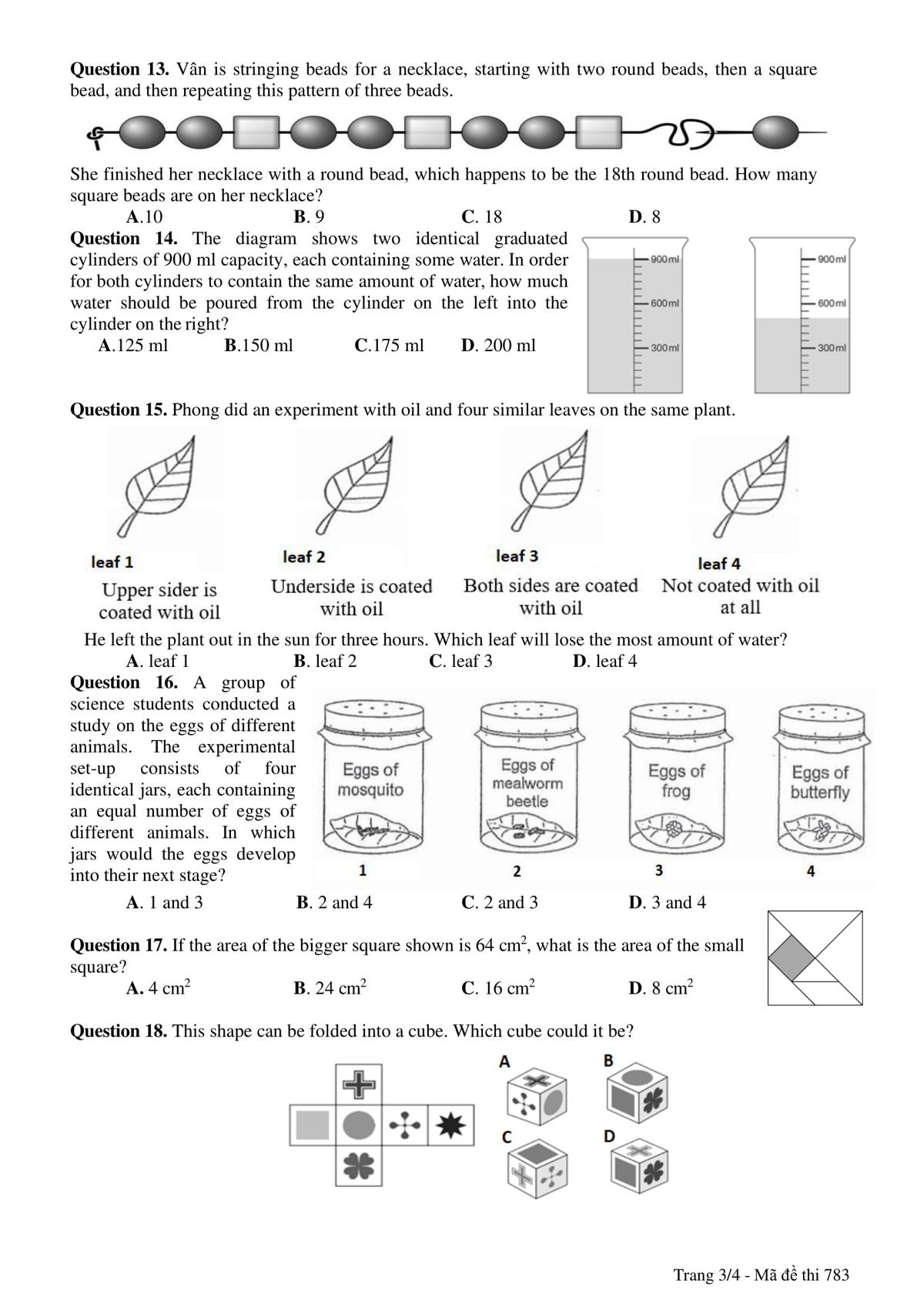 Đề và đáp án bài thi vào lớp 6 trường THPT chuyên Trần Đại Nghĩa - 6