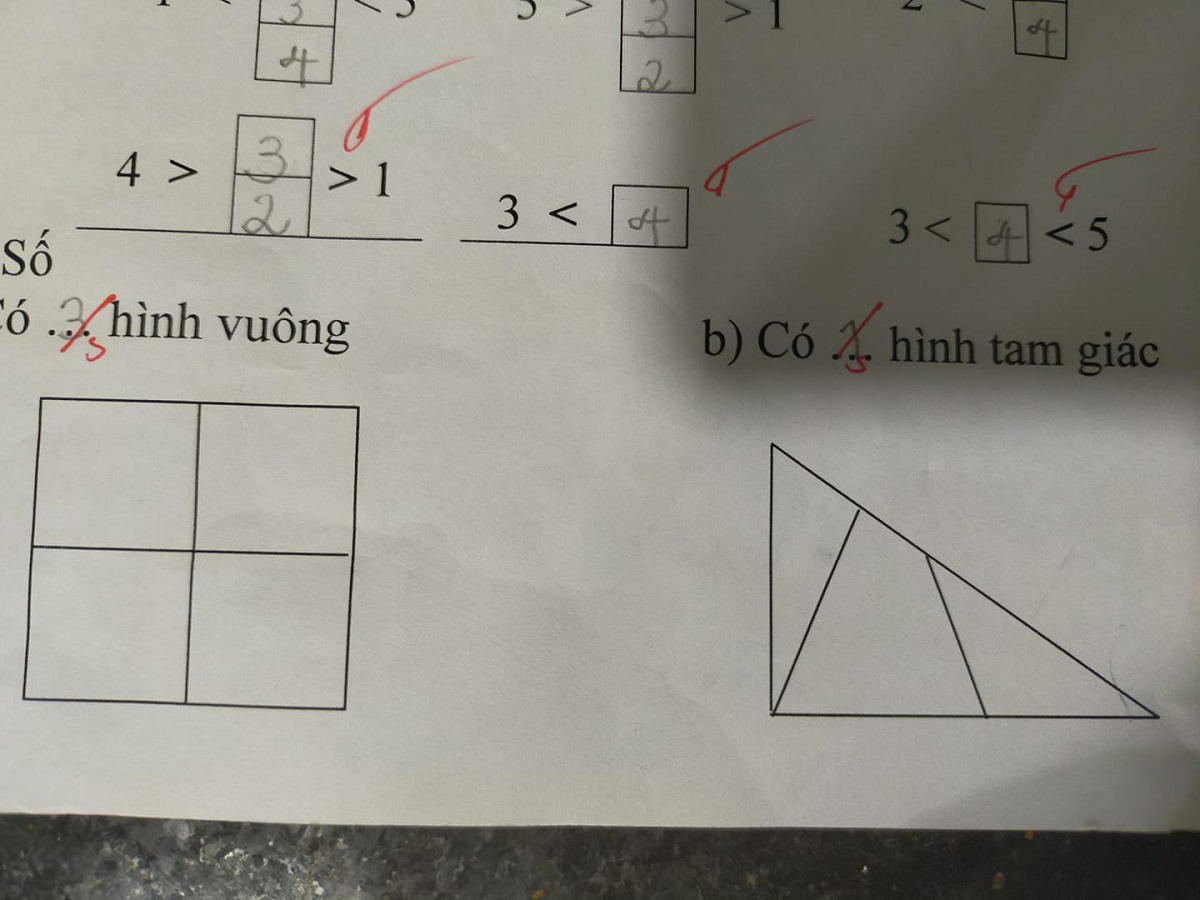 Nhưng học sinh này ghi vào phần đáp án của mình là 3 hình vuông và 1 hình tam giác.