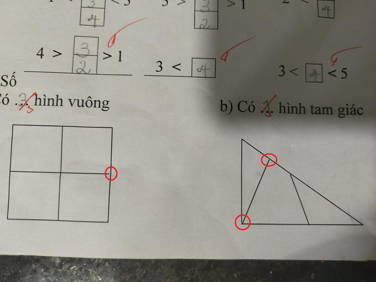 Những khoảng trống trong bài được em học sinh chỉ ra.