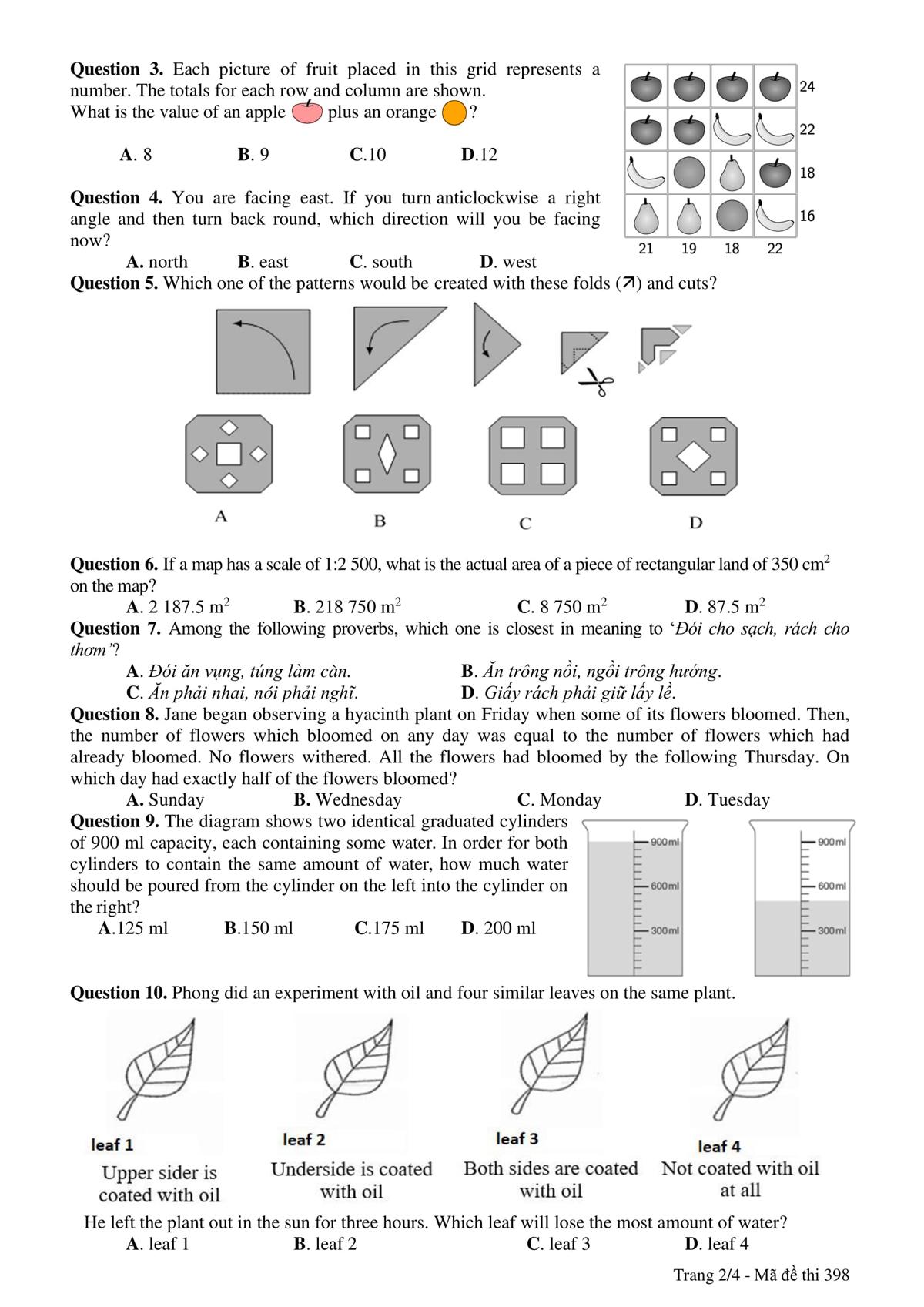 Đề và đáp án bài thi vào lớp 6 trường THPT chuyên Trần Đại Nghĩa - 1