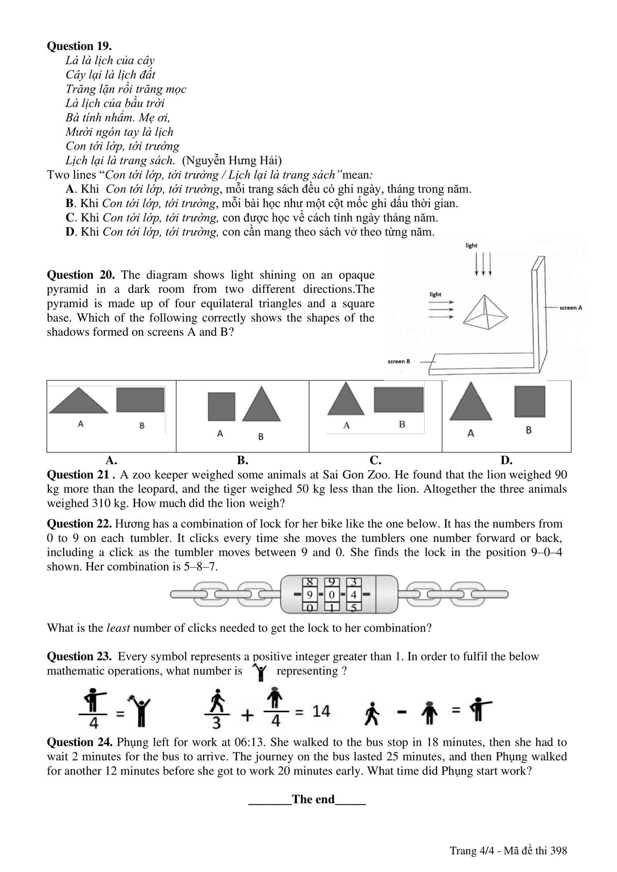 Đề và đáp án bài thi vào lớp 6 trường THPT chuyên Trần Đại Nghĩa - 3