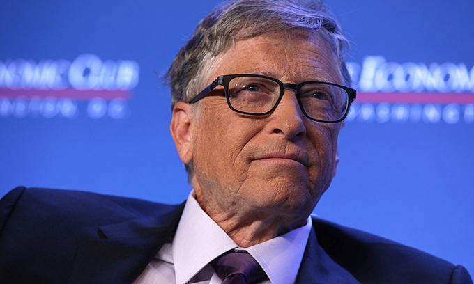 Bill Gates tham gia thảo luận tại Câu lạc bộ Kinh tế Washington hôm 24/6/2019 ở Washington, Mỹ. Ảnh: Alex Wong.