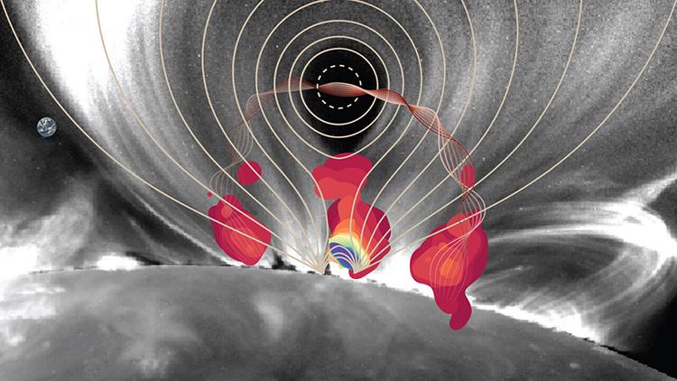 Cấu trúc từ tính của một cơn bão mặt trời được ghi lại vào ngày 10/9/2017. Ảnh: NSF.