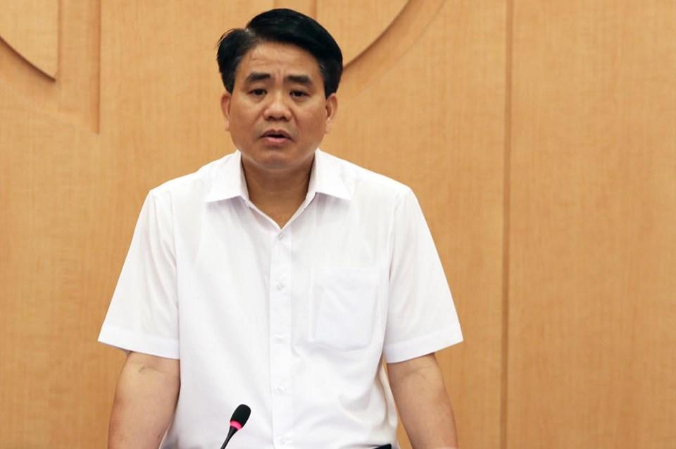 Chủ tịch Nguyễn Đức Chung trong cuộc họp ngày 29/7. Ảnh: Võ Hải