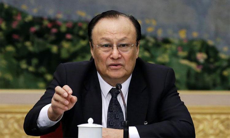 Chủ tịch Khu tự trị Duy Ngô Nhĩ, Tân Cương Shohrat Zakir phát biểu tại một cuộc họp ở Bắc Kinh ngày 12/3. Ảnh: Reuters.