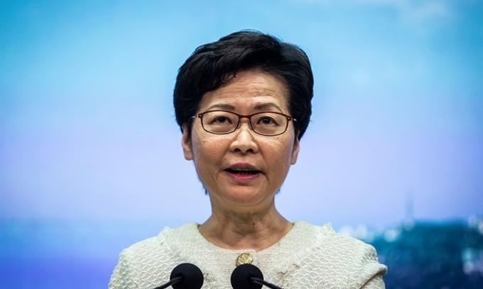 Trưởng đặc khu Hong Kong Carrie Lam phát biểu trong cuộc họp báo hôm 7/7. Ảnh: AFP.