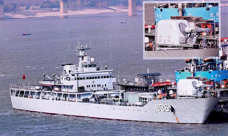 Pháo điện từ trên tàu đổ bộ Type-072III, tháng 2/2018. Ảnh: SCMP.