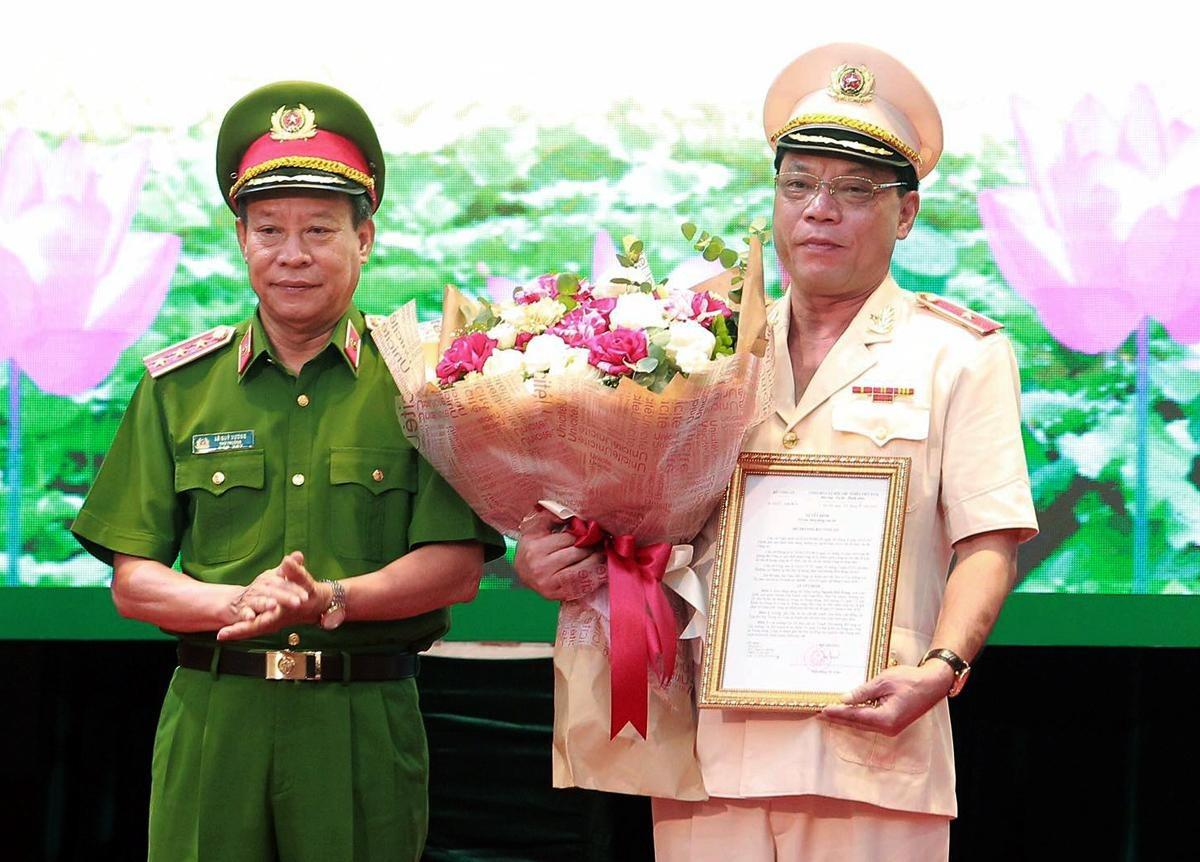 Thiếu tướng Nguyễn Hải Trung trong buổi lễ nhận quyết định bổ nhiệm của lãnh đạo Bộ Công an. Ảnh: Lam Thanh.
