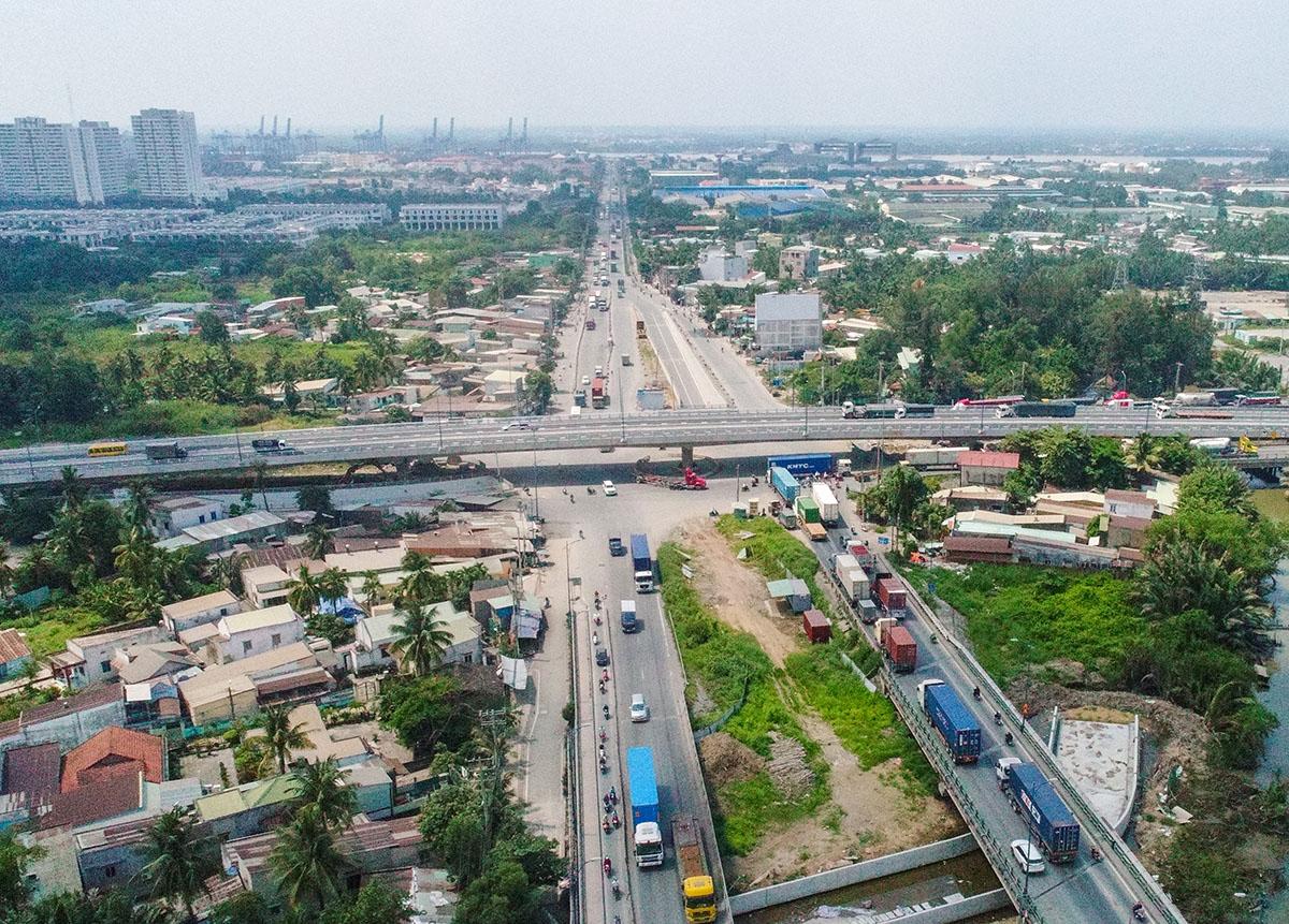 Nút giao thông Mỹ Thủ, quận 2, là dự án được ưu tiên trong thời gian tới để kết nối giao thông khu vực phía Đông thành phố và giảm kẹt xe khu vực cảng Cát Lái. Ảnh: Quỳnh Trần.