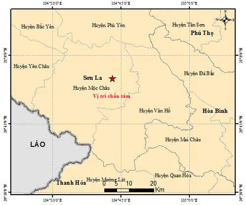 Vị trí trận động đất mạnh 3,6 lúc 5h31 sáng 1/8. Ảnh:Viện Vật lý địa cầu.