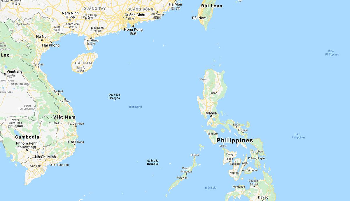 Bản đồ khu vực Biển Đông. Đồ họa: Google.