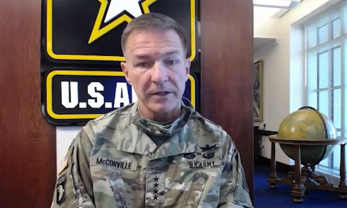 Tham mưu trưởng Lục quân Mỹ, đại tướng James McConville trong buổi thảo luận trực tuyến được phát ngày 31/7. Ảnh: CSIS.