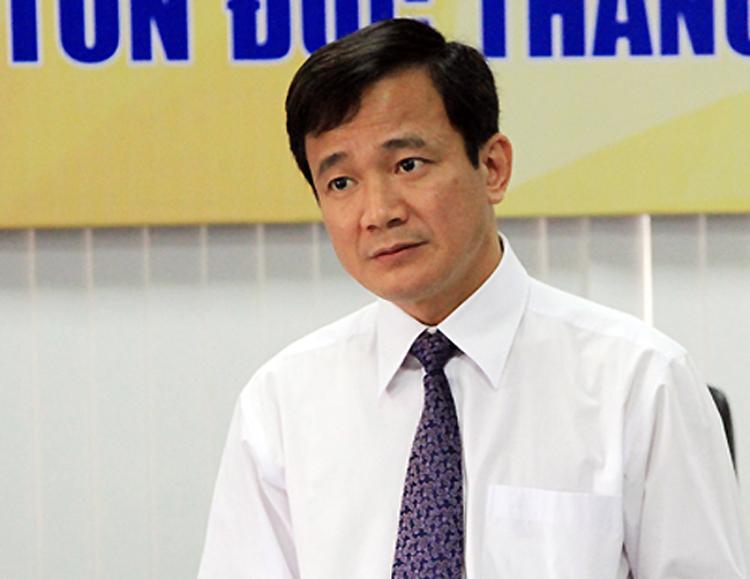 Ông Lê Vinh Danh trong một buổi làm việc tại Đại học Tôn Đức Thắng tháng 3/2016. Ảnh: Mạnh Tùng.