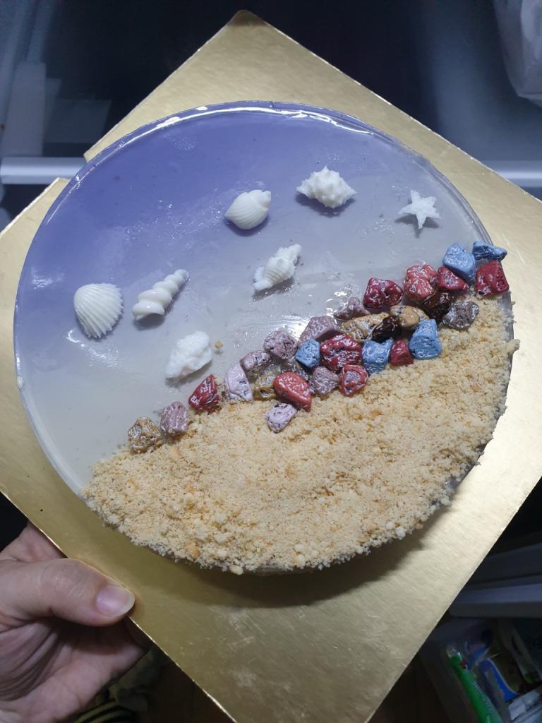 Làm bánh mousse biển xanh mừng sinh nhật con gái - 2