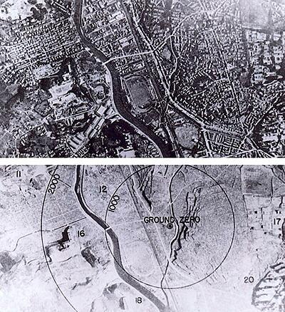 Thành phố Nagasaki của Nhật Bản trước và sau khi bị ném bom. Ảnh: Tư liệu Quốc gia Mỹ.