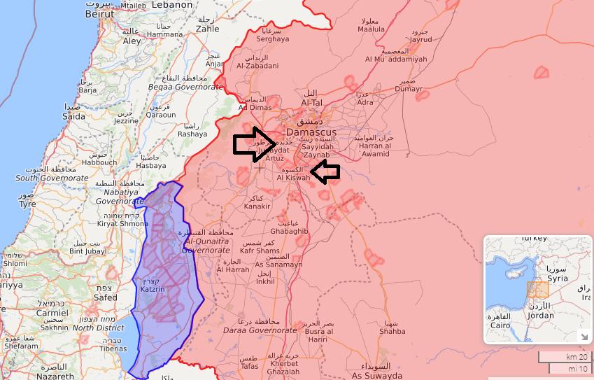 Các vị trí bị Israel không kích ngày 4/8 gần thủ đô Damascus, Syria. Đồ họa: Twitter/evacool.