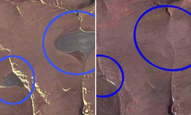 Ảnh chụp hai chỏm băng St. Patrick Bay năm 2015 (trái) và năm 2020 (phải). Ảnh: NSIDC/Sun.