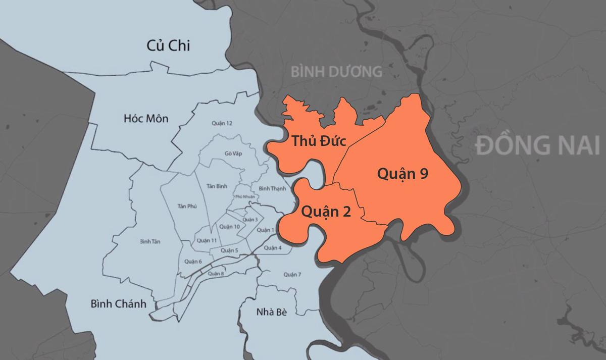 Thành phố Phía Đông của TP HCM sẽ gồm ba quận: 2, 9 và Thủ Đức. Đồ họa: Khánh Hoàng.