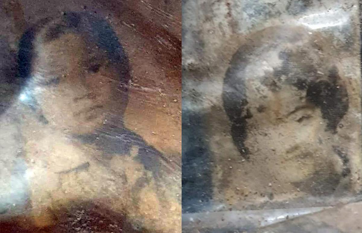 Chân dung hai cô gái được tìm thấy dưới hố chôn tập thể. Ảnh: Thái Hà