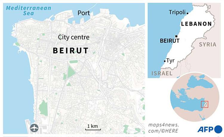 Vị trí cảng Beirut, nơi xảy ra vụ nổ, hôm 4/8. Đồ họa: AFP.