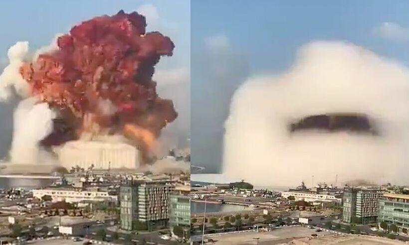 Mây hình nấm sau vụ nổ ở Beirut, Lebanon, hôm 4/8. Ảnh: Twitter/Bissan Campaigns.