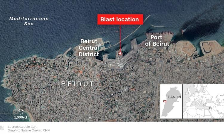 Hiện trường xảy ra vụ nổ ở thủ đô Beirut, Lebanon, hôm 4/8. Đồ họa: CNN.
