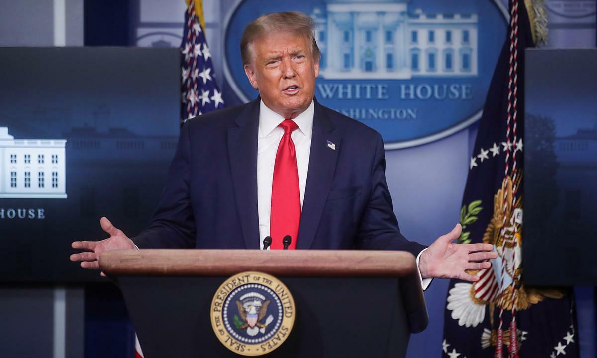 Tổng thống Mỹ Donald Trump tại họp báo ở Nhà Trắng ngày 3/8. Ảnh: Reuters.