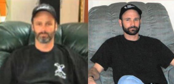 Ari Squire (phải) được cho là đã để râu để có ngoại hình giống Sandy Lively. Ảnh: Filmrise.