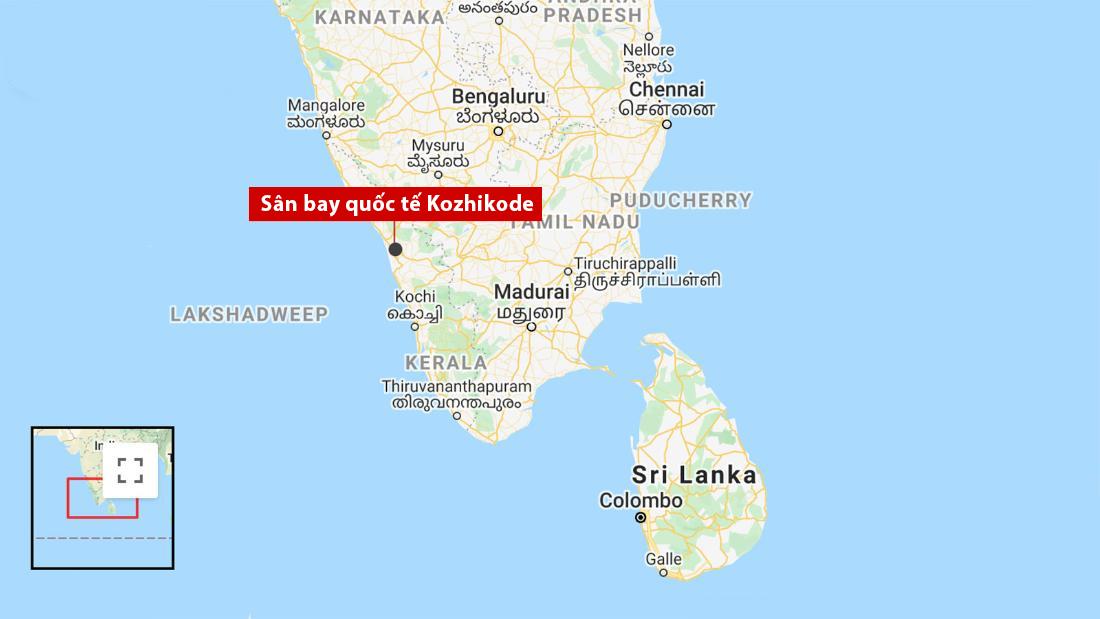 Vị trí sân bay quốc tế Kozhikode. Đồ họa: Google.