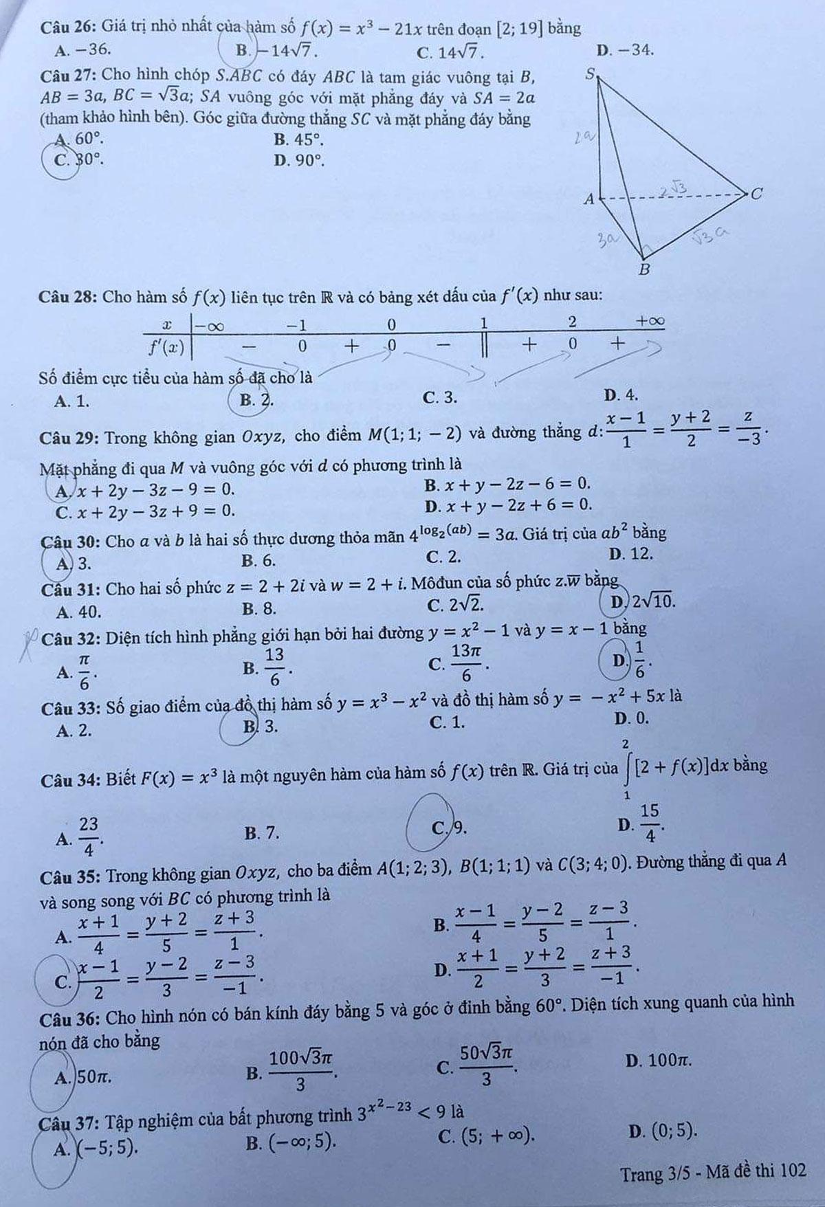 Đề và đáp án Toán thi tốt nghiệp THPT - 4