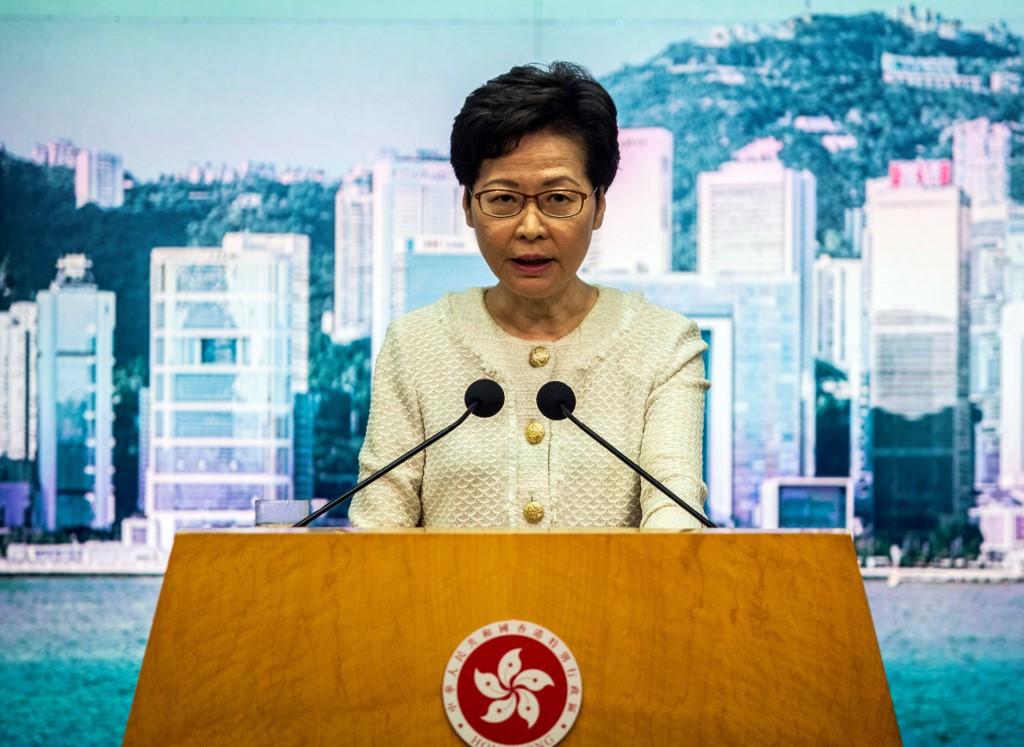 Trưởng đặc khu Hong Kong Carrie Lam thông báo về luật an ninh mới trước báo giới hôm 6/7. Ảnh: AFP.