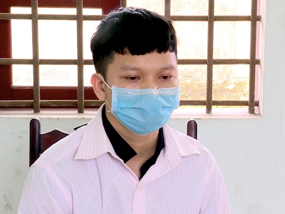 Đinh Phú Thượng tại cơ quan điều tra. Ảnh: Công an cung cấp