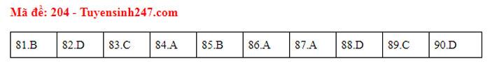 Đáp án 24 mã đề Sinh thi tốt nghiệp THPT - 2