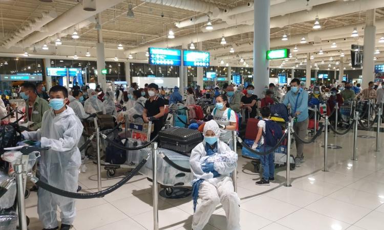 Công dân Việt Nam tại UAE về nước ngày 10/8. Ảnh: Bộ Ngoại giao.