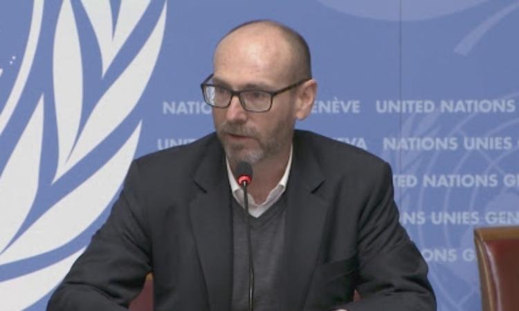 Jeremy Laurence trong một cuộc họp của Liên Hợp Quốc hôm 28/1. Ảnh: UN.