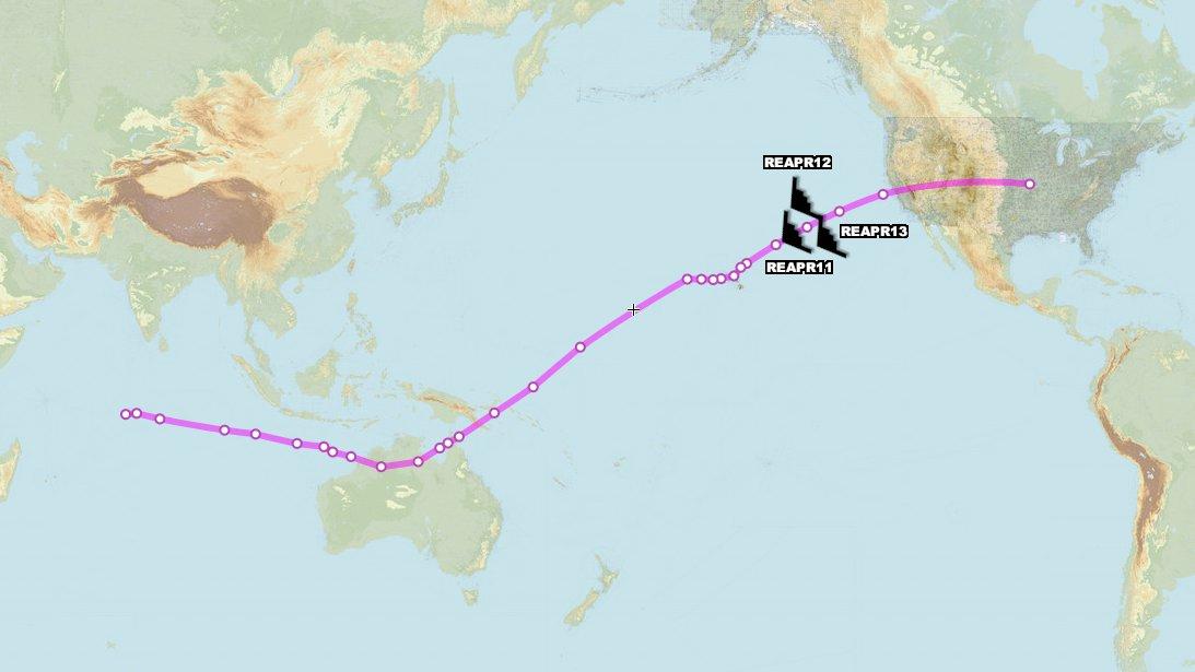 Đường bay của ba oanh tạc cơ tàng hình B-2A tới tiền đồn Diego Garcia, ngày 11/8. Đồ họa: Aircraft Spots