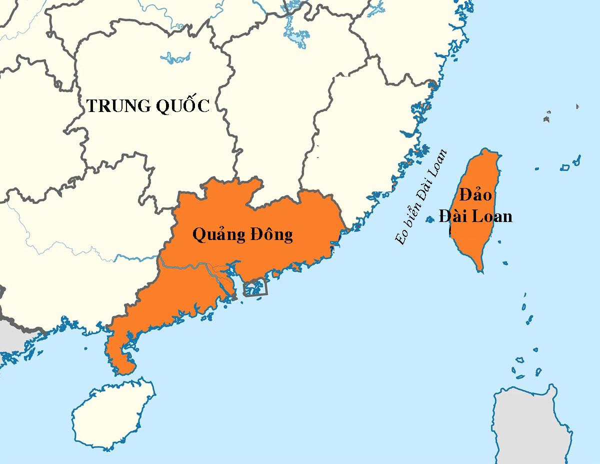Vị trí tỉnh Quảng Đông và đảo Đài Loan. Đồ họa: Wikipedia.