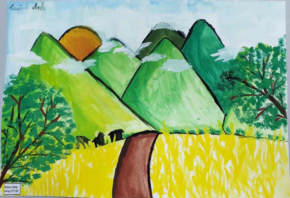 Màu xanh: Bức tranh là ước mơ của con học lớp 5. Con viết rằng, con ước đất nước mình luôn có nhiều cây xanh để chúng con được có không khí trong lành và mọi người không còn bệnh tật.