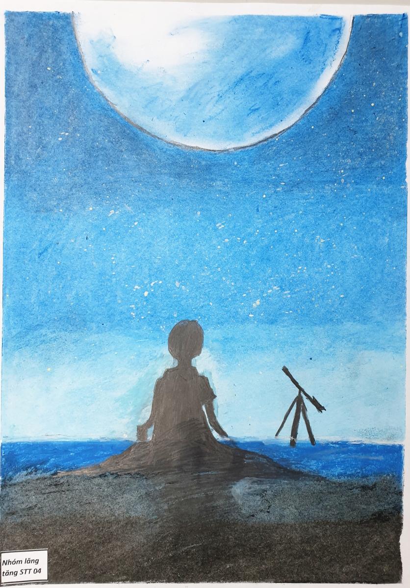 Vươn đến tấm cao: là ước mơ của con học lớp 6, con vẽ ước mơ sau này sẽ học thật giỏi để được đến nơi cao hơn, được làm phi hành gia để bay vào vũ trụ, được góp sức cho các nhà khoa học và có ích cho mọi người.